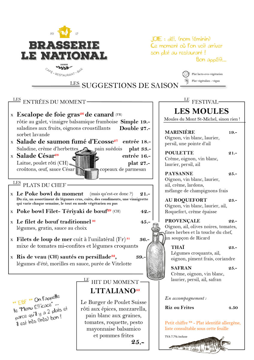 Brasserie Le National - Suggestions Août 2020
